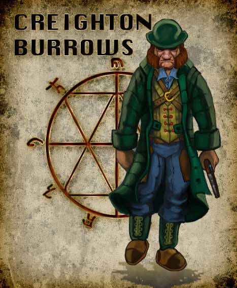CREIGHTON BURROWS, a Discerner of the Empire Regulator's; Thameston Division. Born on the far off shores of the Pearl Sea in Taoasia, to a garrison Healer and a Major of the Black Dog Regiment. Husband and father to a murdered wife and daughter and now after following a trail of a narcotic that causes cannibalistic urges, Creighton comes across a name. A name that has haunted him since the death of his daughter and wife and this name will lead to a reckoning.